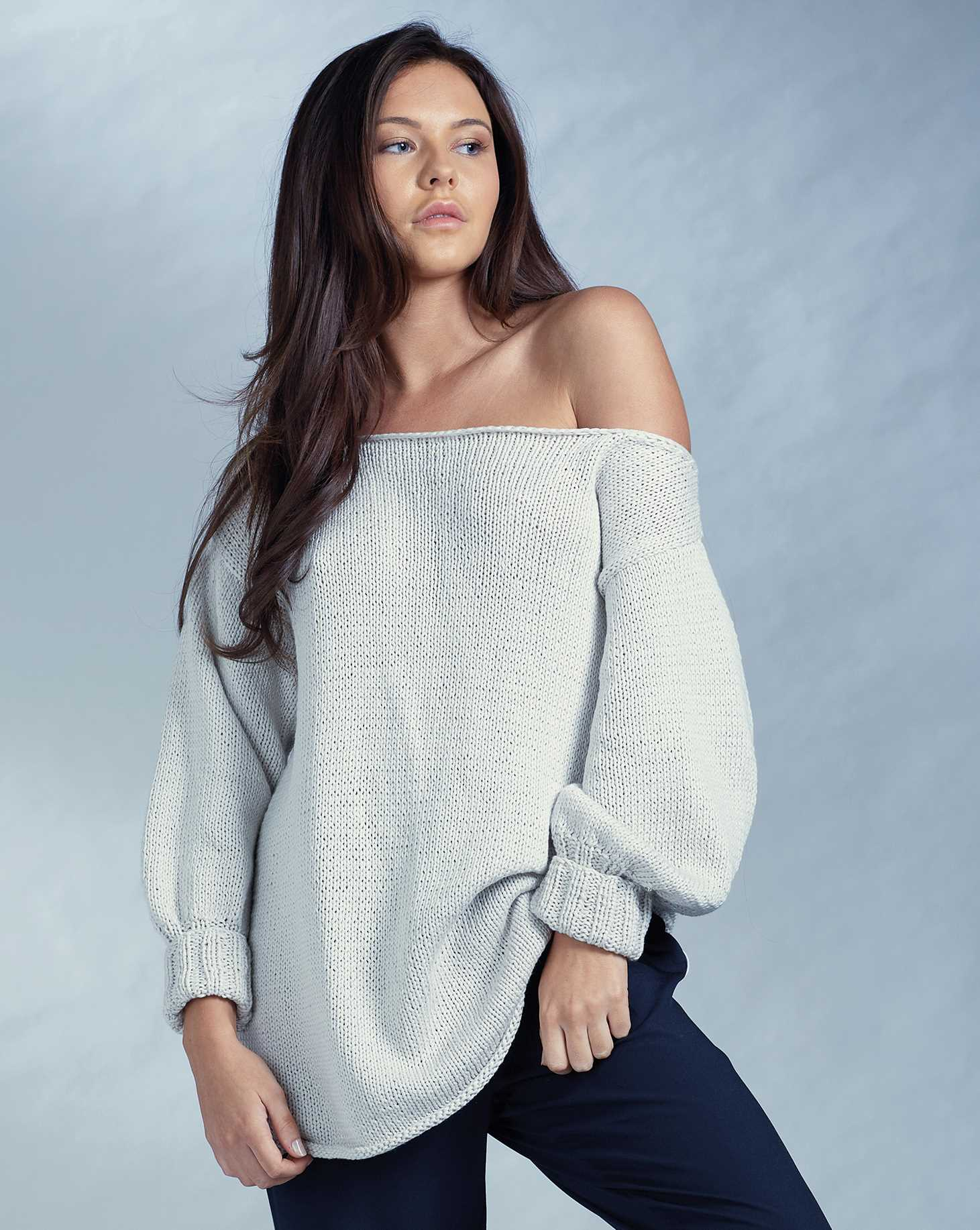 Free Knitting Pattern for an Off Shoulder Jumper