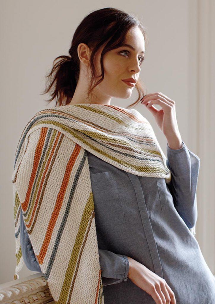Free Knitting Pattern for the Henny Shawl. Easy garter stitch shawl on the bias.