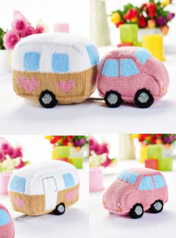 Free Pattern for a Knitted Car and Caravan Toy Set ⋆ Knitting Bee