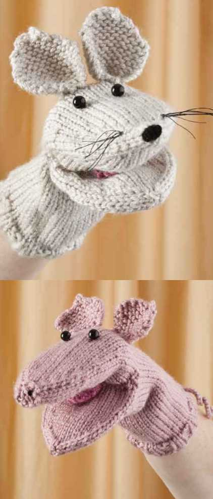 Free Pattern For A Mouse And Piglet Hand Puppet Knitting Bee