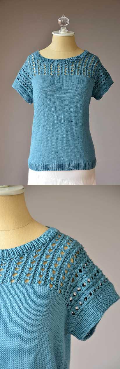 Free Summer Knitting Patterns 2018 eyelet lace yoke tee