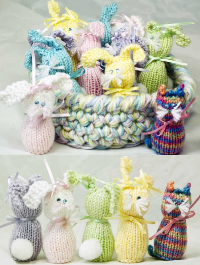 Free Toy Knitting Pattern for Bunnies & Kitties With Tray