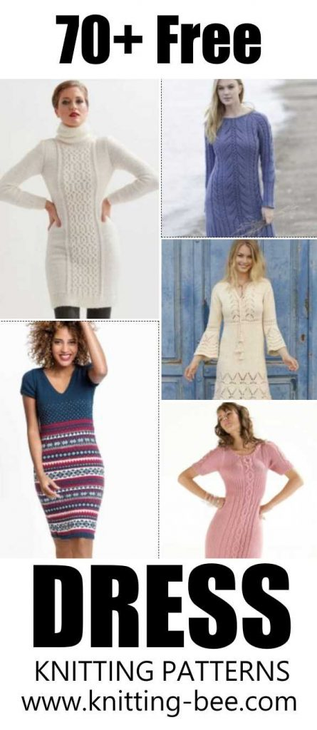 70 Plus Free Knitting Patterns for Women's Dresses. Free knitting pattern for dresses.