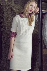 Cable knitted dress pattern free for women