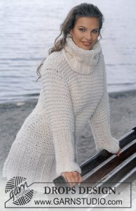 Easy knit rib stitch and garter stitch dress with turtleneck in bulky yarn.