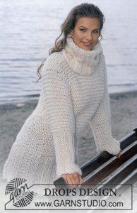 Easy knit rib stitch and garter stitch dress with turtleneck in bulky yarn.