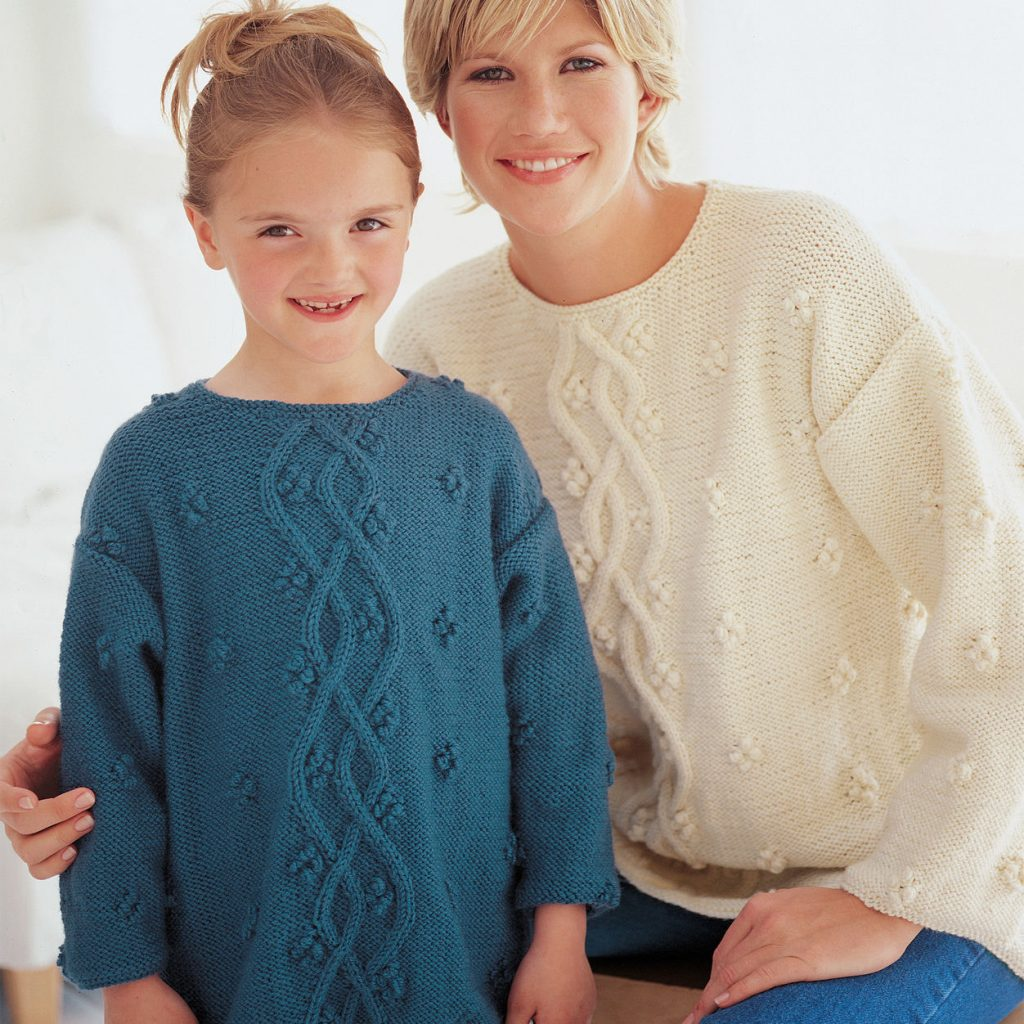 Free Cabled Sweater Knitting Pattern fro Ladies and Girls