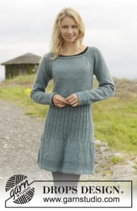 Knitted dress in garter st with rib and raglan, worked top down, free dress knitting pattern