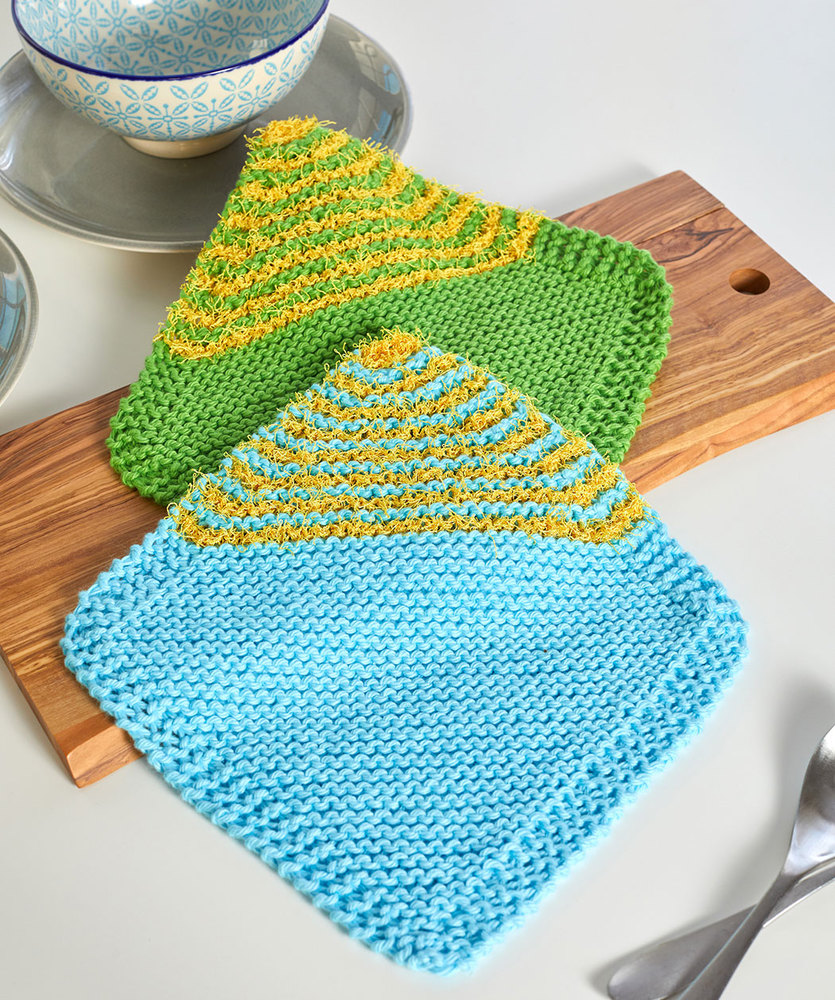 Free bias garter stitch dishcloth pattern Patterns ⋆ Knitting Bee ...