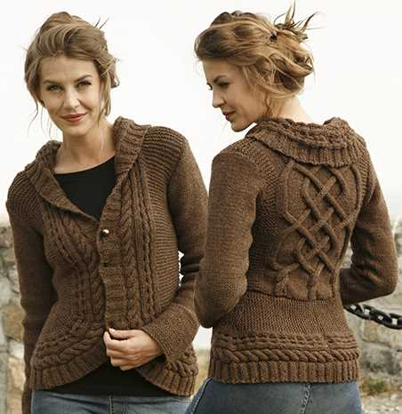 Free Knitting Pattern for Chocolate Passion a Cabled Cardigan