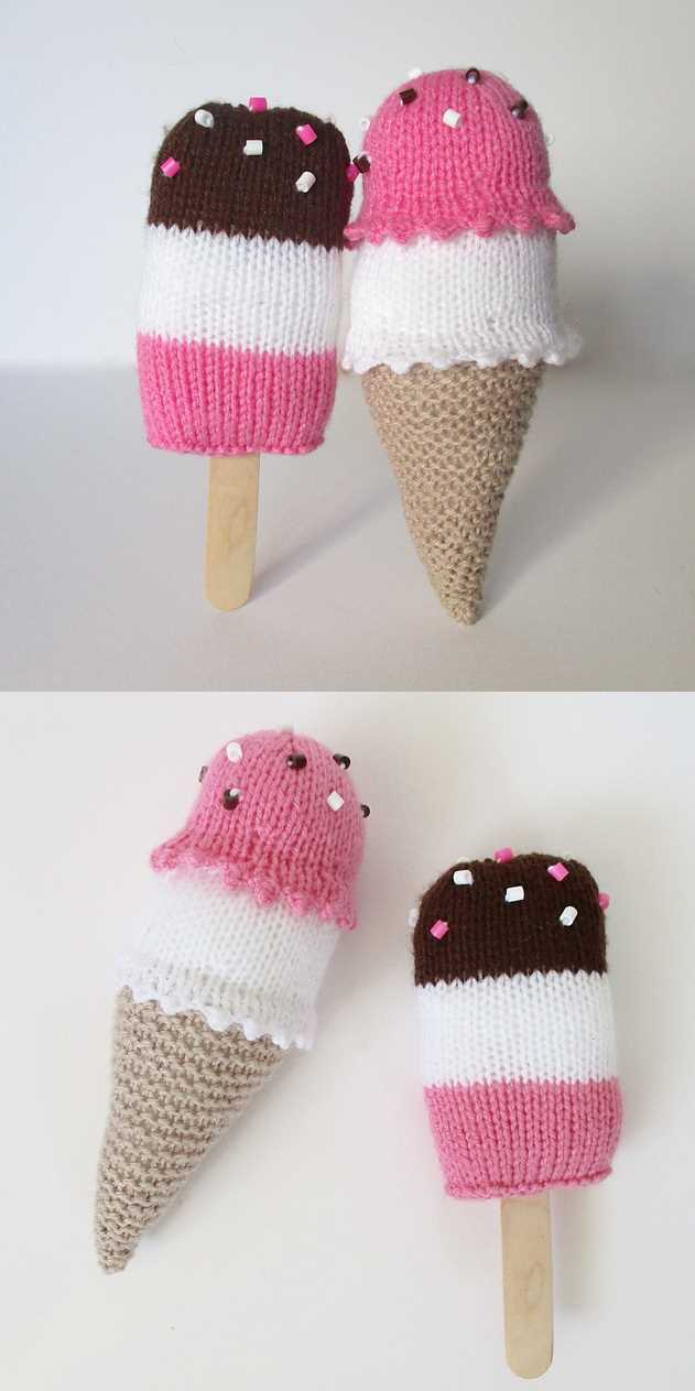 Free Knitting Pattern for Ice Cream Treats Toys