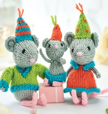 Free Knitting Pattern for Party Mice Trio Knit Toy