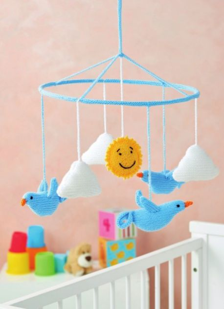 Free Knitting Pattern for a Birds Baby Nursery Mobile