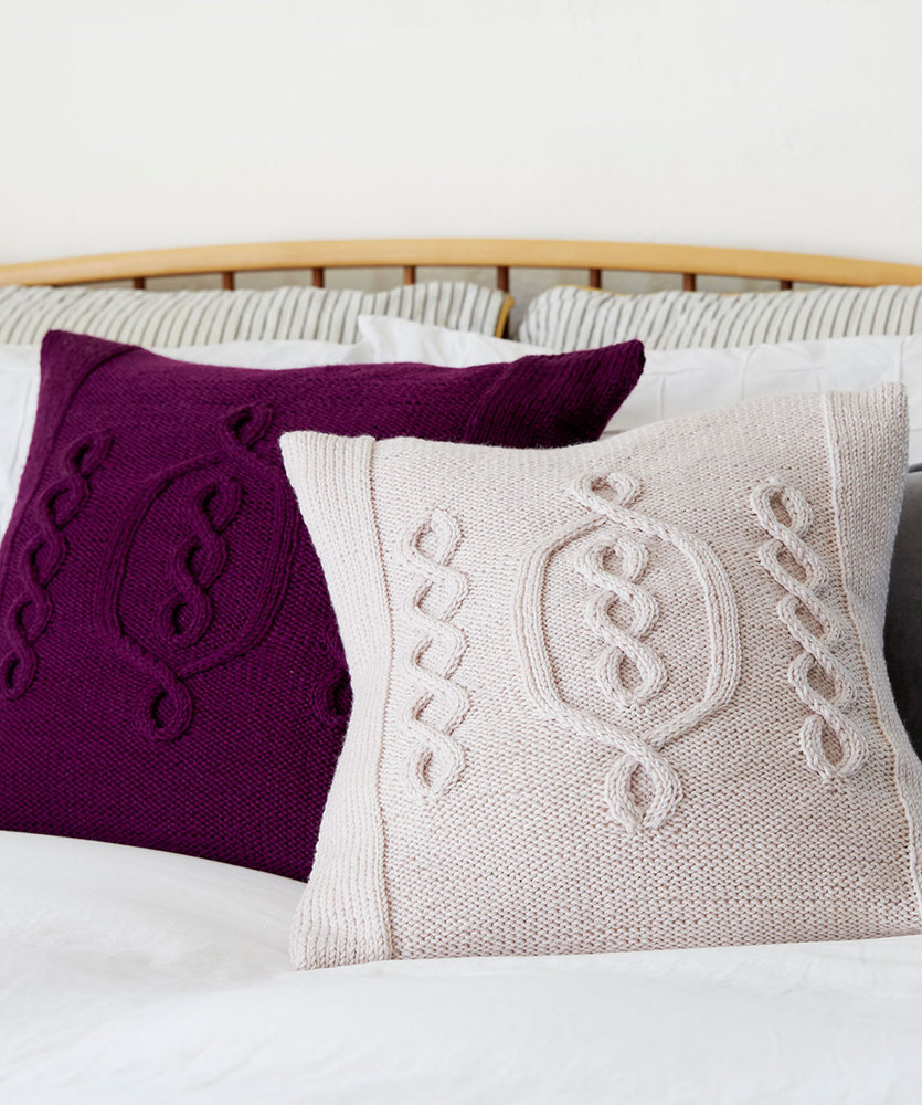 Free Knitting Pattern for a Cabled Hygge Chic Knit Pillow