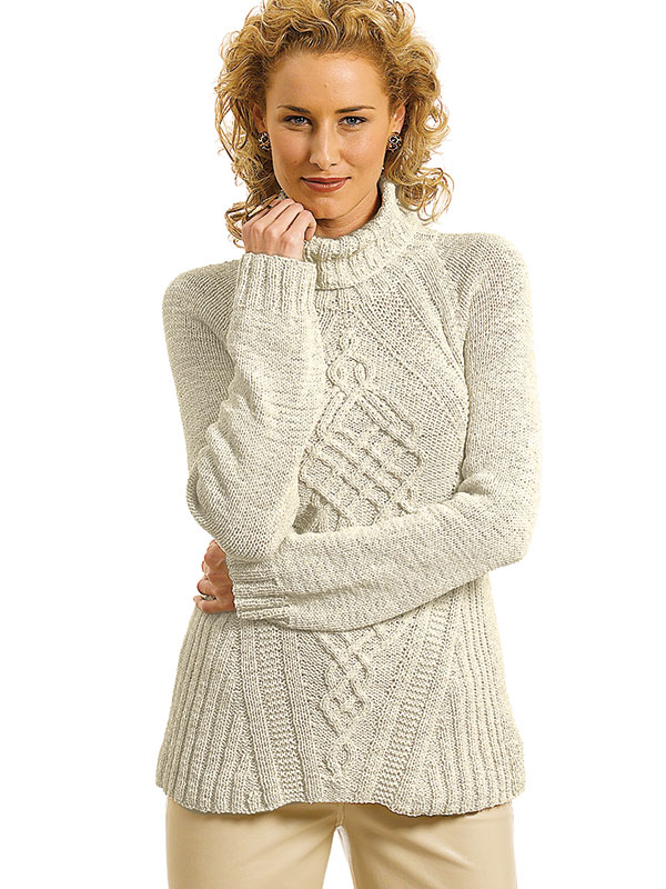 Free Knitting Pattern for a Cabled Turtleneck Sweater