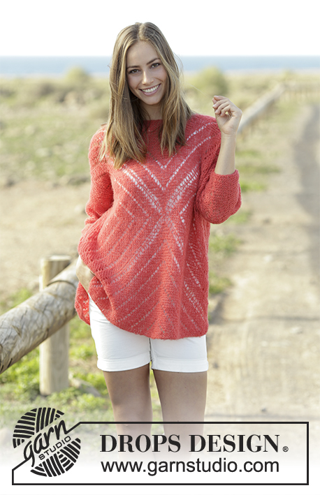 Free Knitting Pattern for a Center of my Heart Lace Jumper