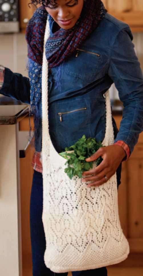 Free Knitting Pattern for a Chevron Lace Market Bag
