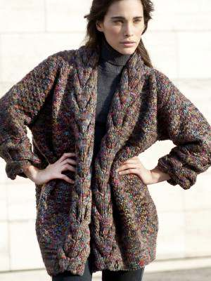 Free Knitting Pattern for a Chunky Cable Edge Jacket