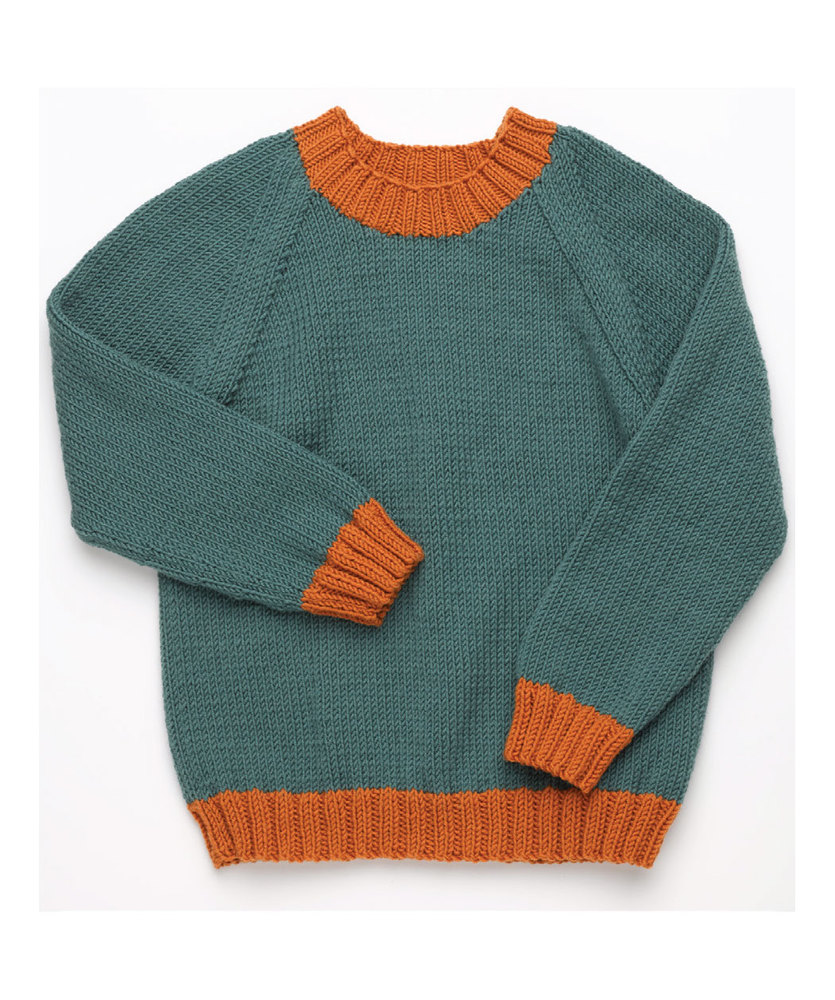 Free Knitting Pattern for a Classic Kid's Pullover with Raglan Sleeves