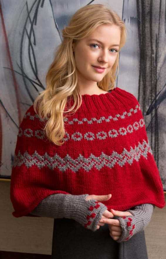 Free Knitting Pattern for a Fair Isle Poncho & Arm Warmers