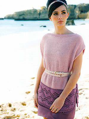 Free Knitting Pattern for a Lace Tunic Tippi. Two toned garter stitch tunic with lace edge.