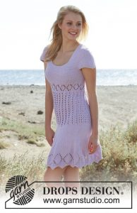 Free Knitting Pattern for a Garter Stitch and Lace Dress
