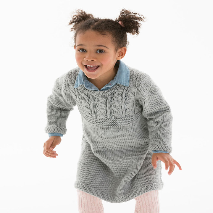 Free Knitting Pattern for a Girl's Cable Sweater Dress