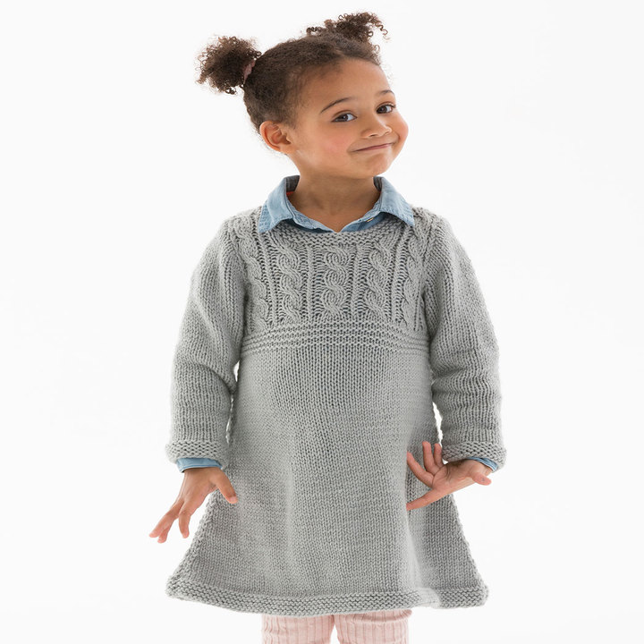 Free Knitting Pattern for a Girl\'s Cable Sweater Dress ⋆ Knitting Bee