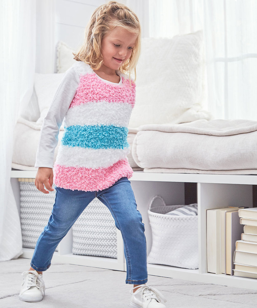 Free Knitting Pattern for a Girls Sweet Stripes Tunic