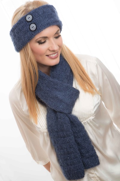Free Knitting Pattern for a Headband and Scarf Set
