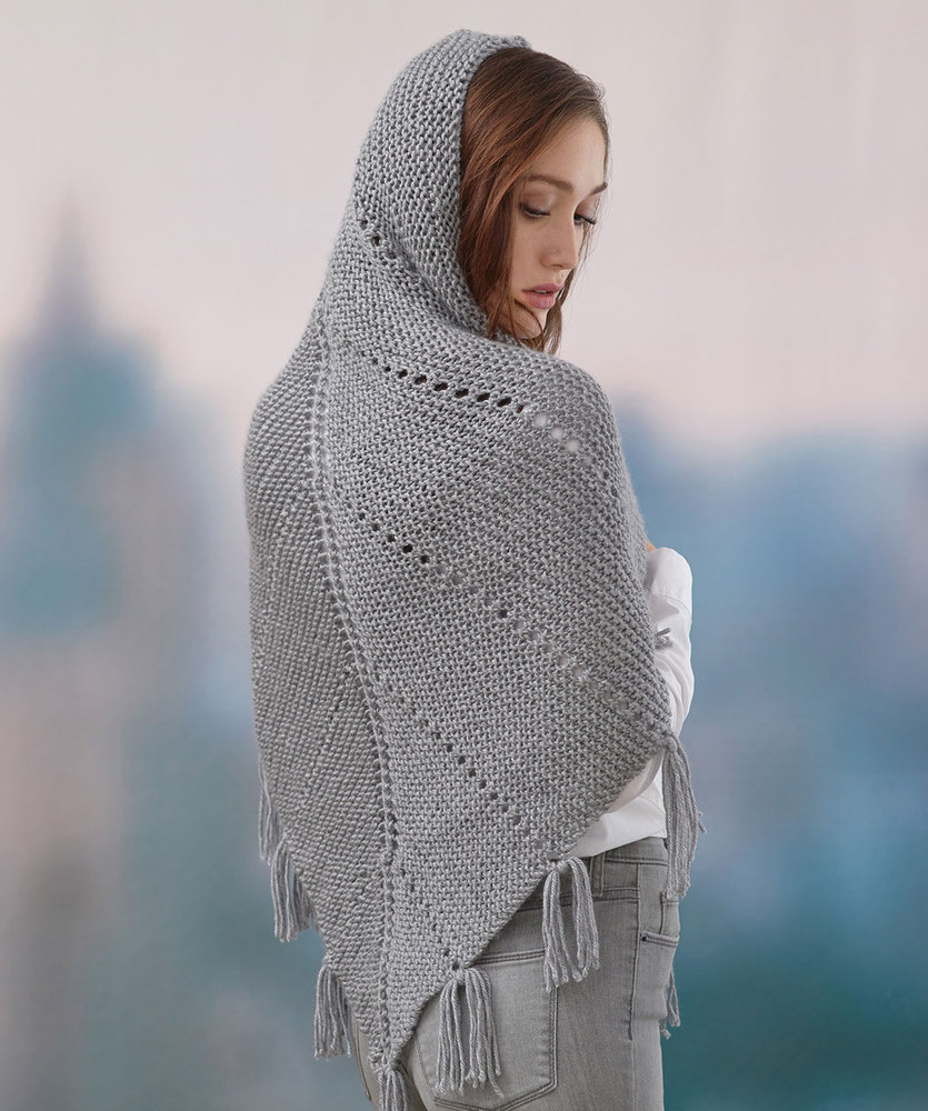 Free Knitting Pattern for a Hoodie Shawl, easy shawl knitting pattern. Truangular shawl with fringing and hood.