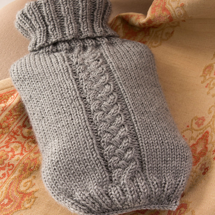Free Knitting Pattern for a Hot Water Bottle Cover