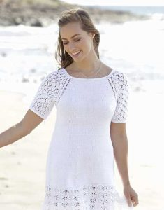Free Knitting Pattern for a Lace Raglan Summer Dress