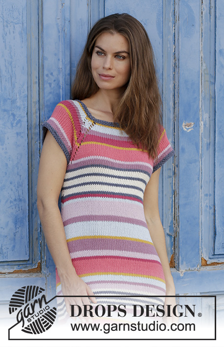 Free Knitting Pattern for a Ladies Striped Dress - Verona