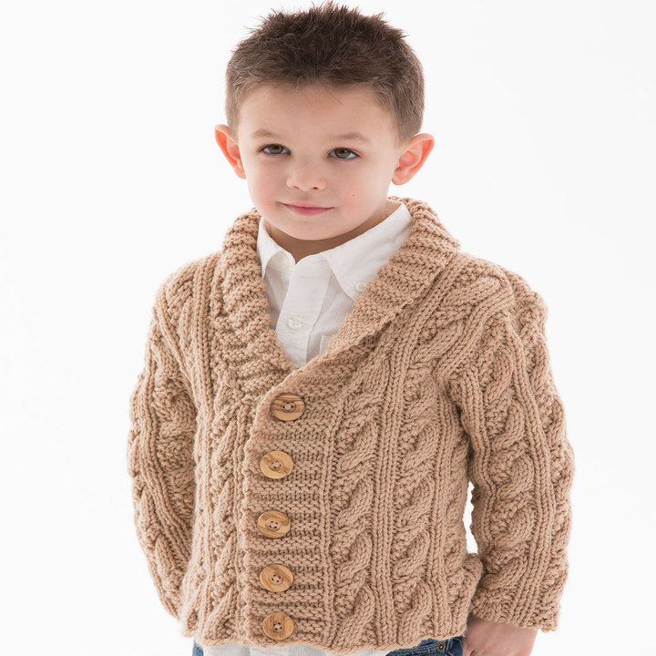 Free Knitting Pattern for a Little Man Cable Cardigan