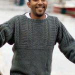 Free Knitting Pattern for a Man's Old Way Gansey Sweater