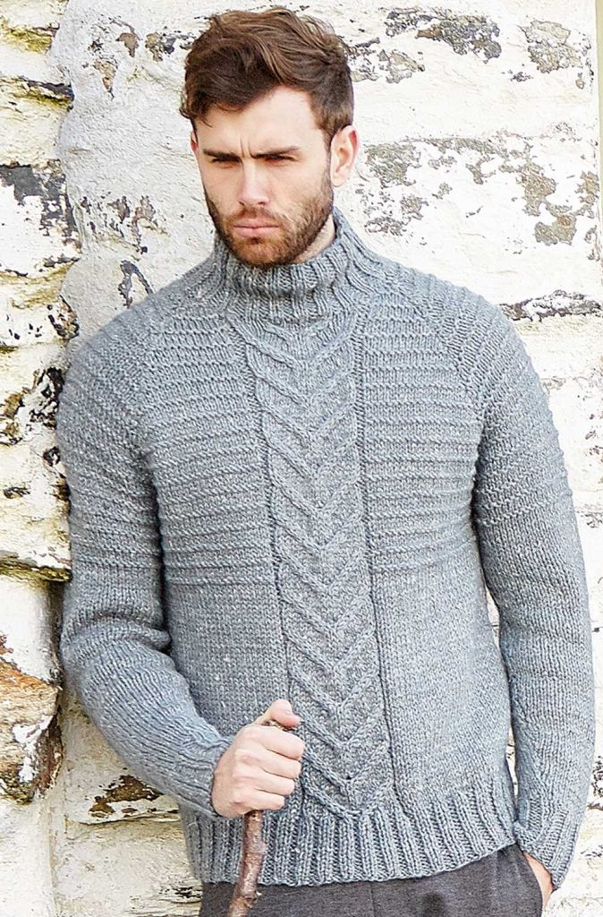 Free Knitting Pattern for a Men's Cabled Sweater