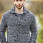 Free Knitting Pattern for a Men's Textured Cardigan Fell