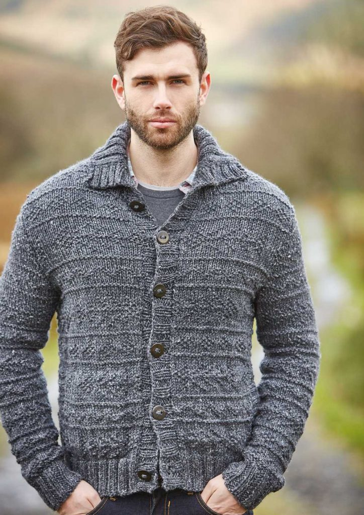 Free Knitting Pattern For A Mens Textured Cardigan Fell Knitting Bee