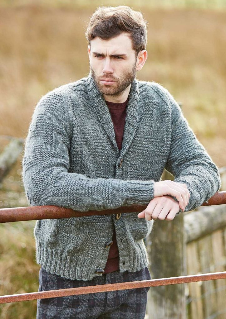 Free Knitting Pattern for a Men's Textured Cardigan Thorpe