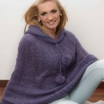 Free Knitting Pattern for a Mohair Lace Poncho. Lace poncho with hoodie and pompoms.