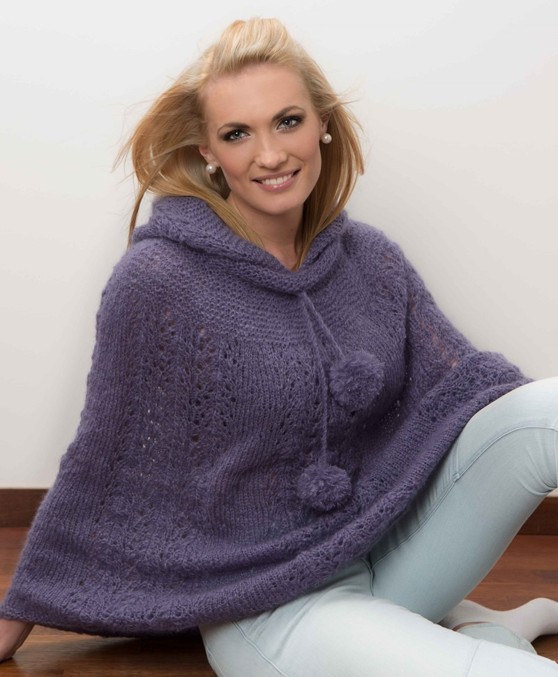 Free free hooded poncho knitting patterns Patterns