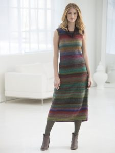 Free Knitting Pattern for a Shapely Striped Maxi Dress