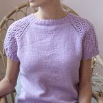 Free Knitting Pattern for a Short Sleeved Sweater with Lace Detail