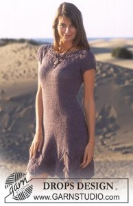 Free Knitting Pattern for a Short Summer dress to knit with lace details
