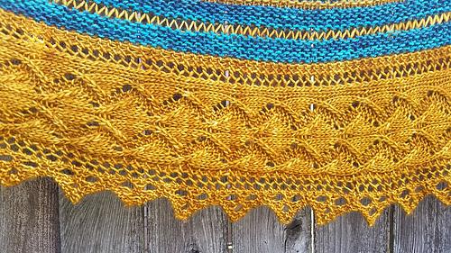 Free Knitting Pattern For A Split Stripes Crescent Shawl 1