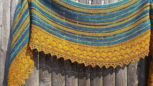 Free Knitting Pattern for a Split Stripes Crescent Shawl