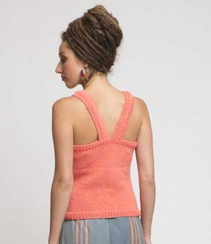 Free Knitting Pattern For A Tank Top With Cable Feature Back