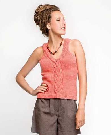 Free Knitting Pattern For A Tank Top With Cable Feature Knitting Bee