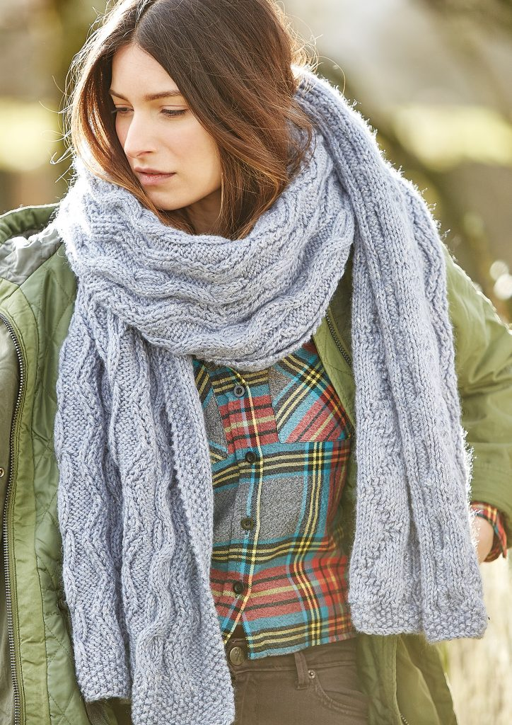 Free Knitting Pattern for a Texture and Cable Scarf 1